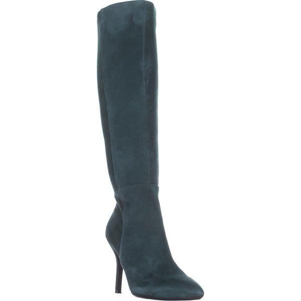 Nine West Fallon Knee-High Heeled Boots, Dark Green/Dark Green Suede