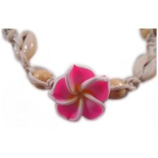 Charming Shark Girls Macrame Flower Necklace Adjustable Pink