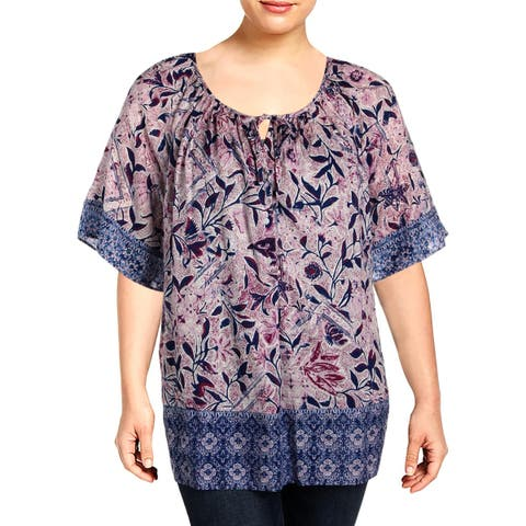 Lucky Brand Womens Plus Peasant Top Floral Print Button-Down