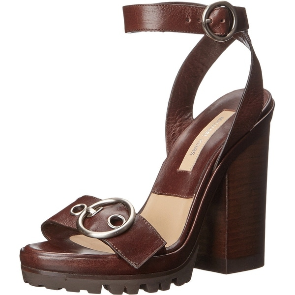 Michael Kors NEW Brown Shoes Size 7.5M Open Toe Leather Heels