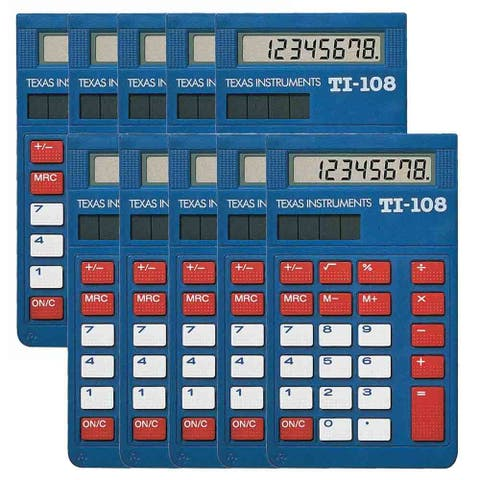 Texas Instruments 108/TKT/1L1/C (10-Pack) Texas Instruments TI-108 Simple Calculator - 8 Digit(s) - LCD