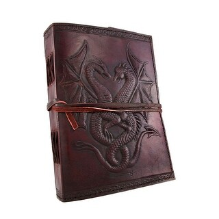 Embossed Leather Dual Dragons 120 Leaf Journal - brown