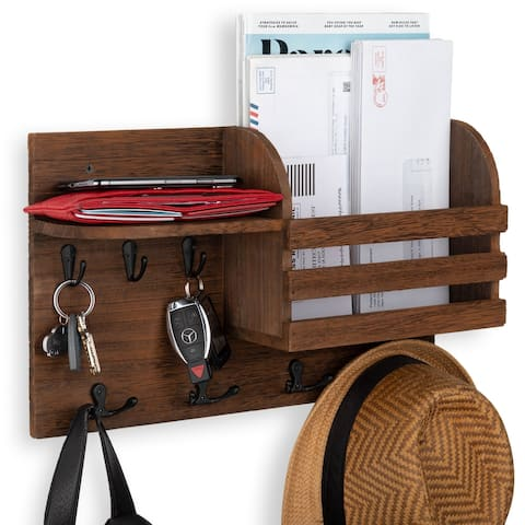 Wallniture Horta Wood Entryway Key Holder and Mail Organizer with Hooks