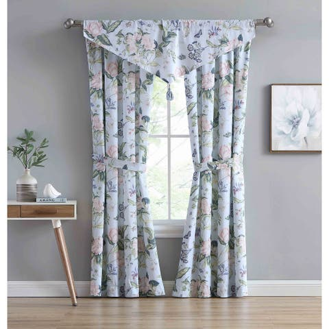 "Williamsburg Blue Garden Image Ascot Curtain Valance - 20""x52"""