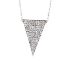 14k Gold White Diamond Down Triangle Pendant with Chain