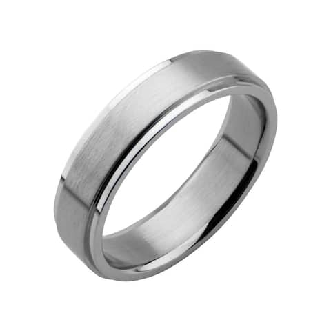 Inox Stainless Steel 6mm Polish Finished Edges Wedding Band Ring .Available Sizes: 9 - 12