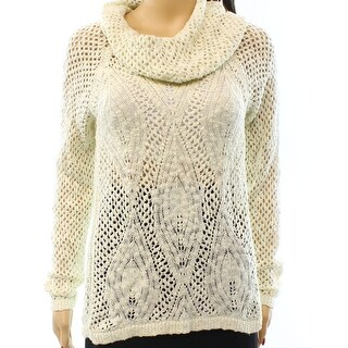 INC NEW White Ivory Women's Size Large L Cowl Neck Pointelle Sweater