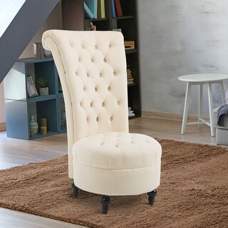 HomCom 45″ Tufted High Back Flannelette Accent Chair