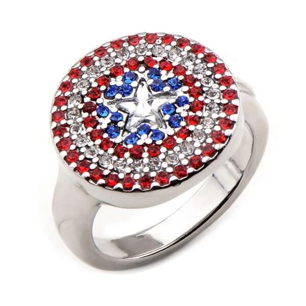 Marvel Womens Avengers Captain America Ring - Silver