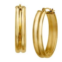 Double-Oval Hoop Earrings in 14K Gold