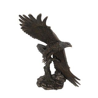 Bronze Finished Soaring Eagle Statue Hand Painted Accents