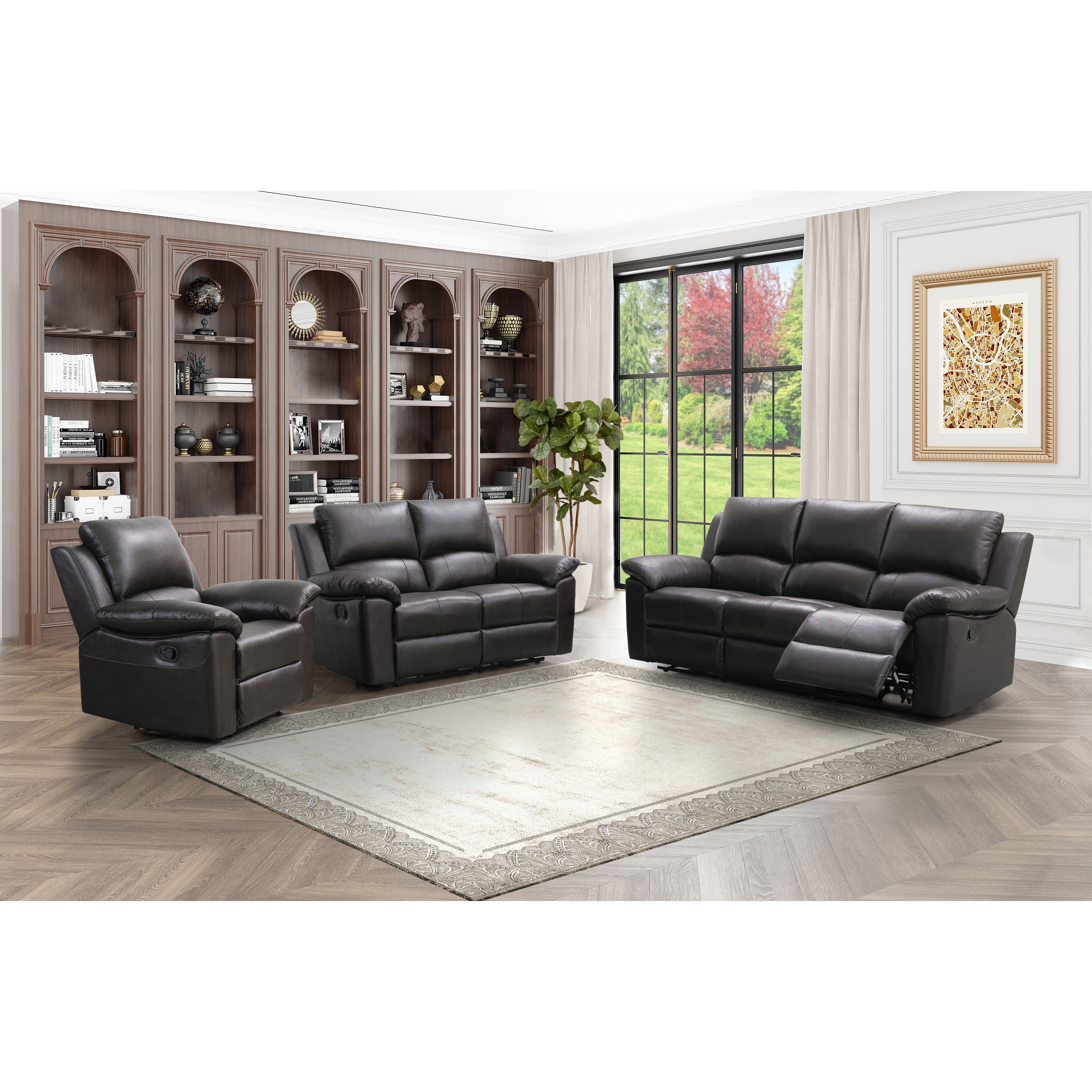 Abbyson Westwood Brown Leather 3 Piece Living Room Reclining Set Overstock 9557890