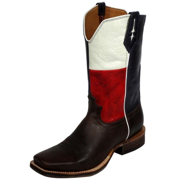 Twisted X Western Boots Mens Red River Texas Flag Brown Blue