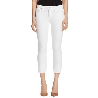 Joe's Jeans Womens Cropped Jeans Cuffed White Wash