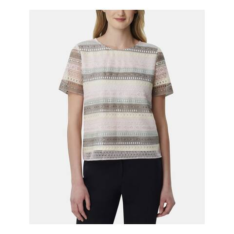 TAHARI Womens Pink Striped Short Sleeve Jewel Neck Top Size 14