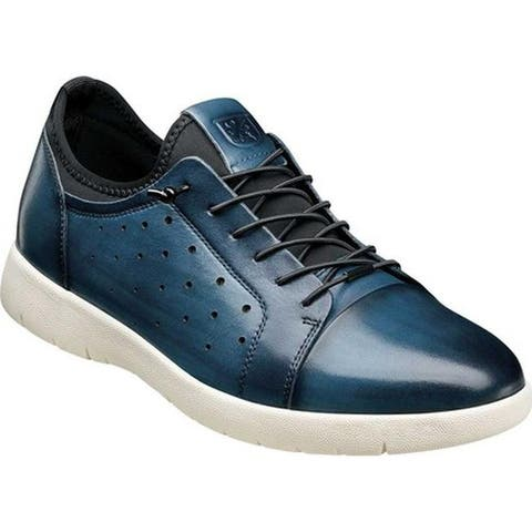 Stacy Adams Men's Halden Cap Toe Sneaker Blue Burnished Smooth Leather