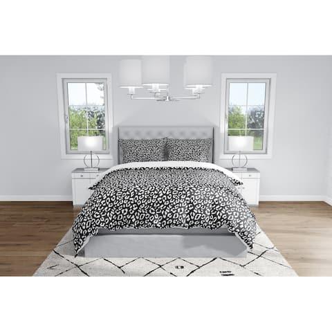 LEOPARD WHITE ON BLACK Duvet Cover By Kavka Designs