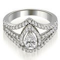 1.40 cttw. 14K White Gold Halo Pear Cut Diamond Engagement Diamond Ring - Thumbnail 0