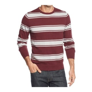 John Ashford Cotton Crewneck Sweater Red Plum and Gray Striped Pullover