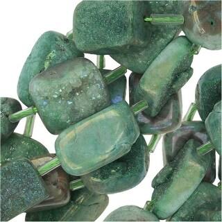 Quartz Gemstone Druzy Beads, Rectangle Nugget 11-19mm, 15.5 Inch Strand, Iridescent Green