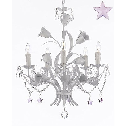 Wrought Iron Chandelier With Crystal And Color Stars