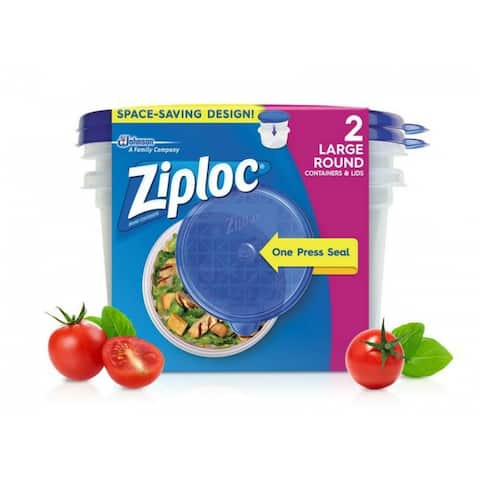 Ziploc 71420 Large Round Containers & Lids with One Press Seal, 48 Oz, 2-Count