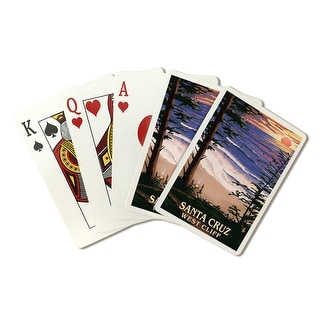 Santa Cruz, California - West Cliff Sunset & Surfers - Lantern Press Artwork (Poker Playing Cards Deck)