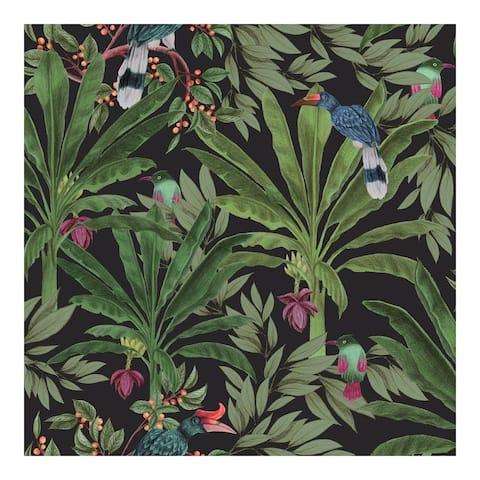 Carola Black Jungle Tropics Wallpaper - 20.9 x 396 x 0.025