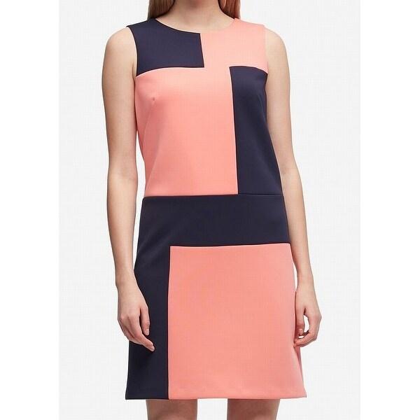 12a9ec5ee4 Shop DKNY Navy Blue Womens Colorblocked Scuba Shift Dress - On Sale ...