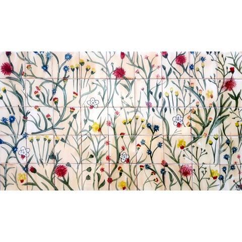 36in x 20in Floral Backsplash 45pc Mosaic Tile Ceramic Wall Mural