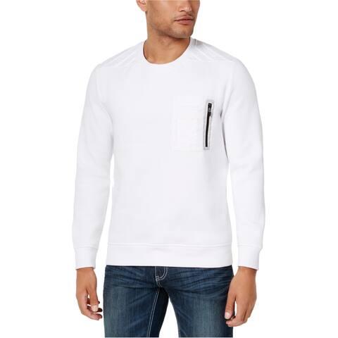 I-N-C Mens Zip-Pocket Sweatshirt, White, 3XL