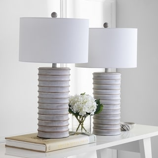 "Link to Safavieh Lighting 29-inch Melina Grey/ White LED Table Lamp (Set of 2) - 16""x16""x28.5"" Similar Items in Table Lamps"