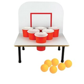 Bank Shot Beer Pong Game - Basketball Ping Pong Adult Drinking Game - MultiColor