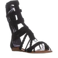 Fergalicious Zaille Mid-Calf Gladiator Sandals, Black - 6 us / 36 eu