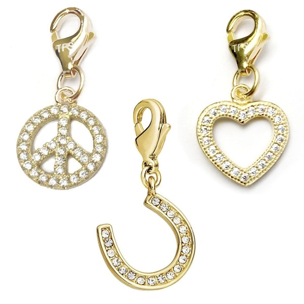 Julieta Jewelry Horseshoe, Peace Sign, Heart 14k Gold Over Sterling Silver Clip-On Charm Set