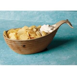 "Women's Whale Chip & Dip - Glazed Ceramic Serving Salsa Bowl - 14"" Long"