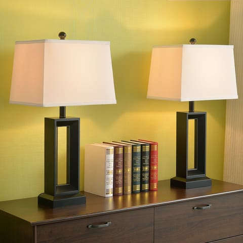 "Katy 2-Pack 28"" 3-way Table Lamp - Black"