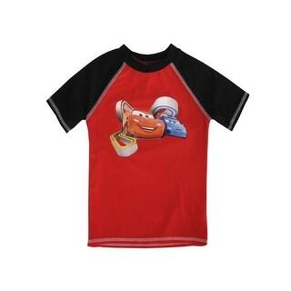 Disney Little Boys Red Black Cars Inspired Print Short Sleeved Rashguard