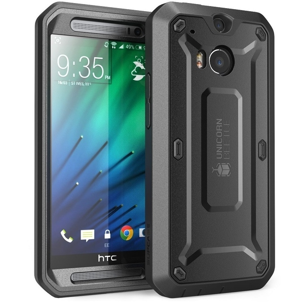 HTC One M8 Case, SUPCASE,HTC One M8 Case Unicorn Beetle PRO Series Full-body Rugged Hybrid Protective Case-Black/Black