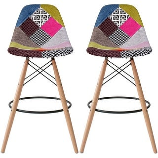 2xhome Set of 2 28inch Chair DSW Patchwork Fabric Counter Bar Stool Height Armless Natural Legs with Back Padded Cushion Seat