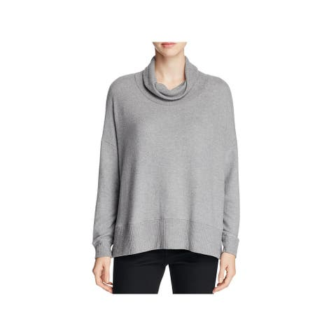 Three Dots Womens Pullover Sweater Lined Funnel Neck - Gray - M