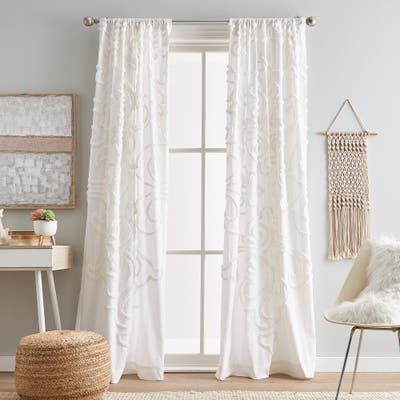 Gates Tufted Chenille Poletop Curtain Panel Pair