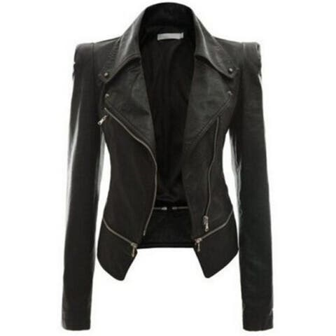 Autumn And Winter Women's Motorcycle Leather Jacket Jacket Zipper Two Wear Leather