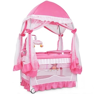 Link to Costway 4 in 1 Portable Baby Playard Crib Bassinet Bed w/Changing Similar Items in Cribs