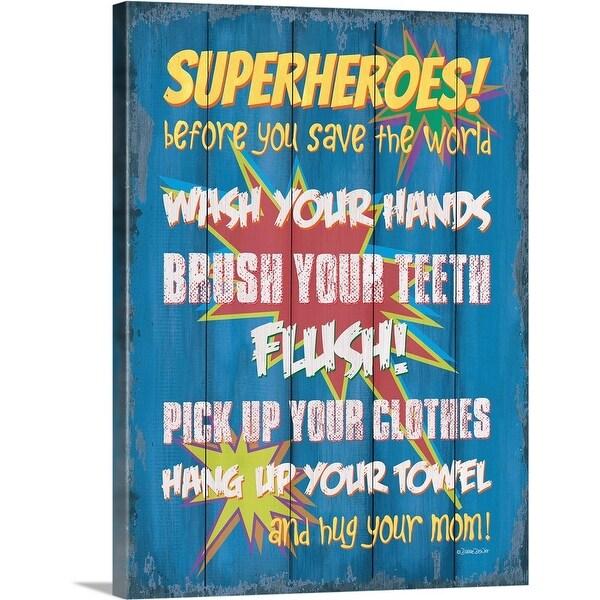 """Superheroes Bath II"" Canvas Wall Art"