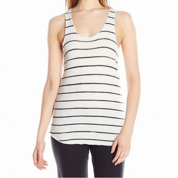 Alternative White Womens Size Medium M Striped Scoop-Neck Tank Top