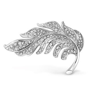 Bling Jewelry Crystal Nature Leaf Brooch Pin Silver Plated