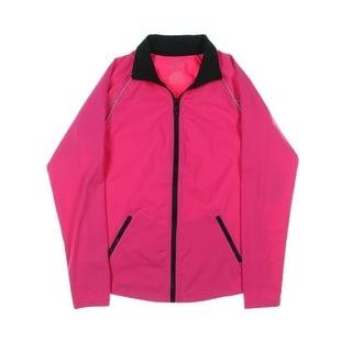 L-RL Lauren Active Womens Collared Contrast Trim Athletic Jacket - M