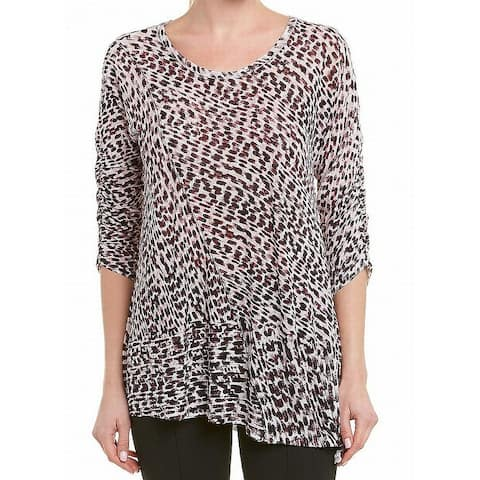 Nic + Zoe Pink Women Size Small S Cheetah Print Scoop Neck Knit Top