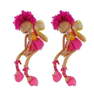 Pair of Happy House Sunset Fairy Dolls with Butterfly Wings